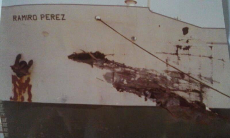 """Daños en la amura de babor del buque """"Ramiro Pérez"""""""