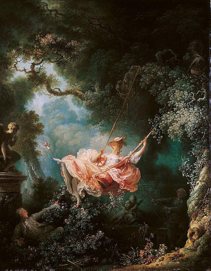 El columpio, obra maestra de Fragonard, donde se recoge el espíritu refinado, exótico y sensual propio del rococó