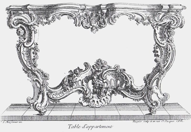 Diseño de mesa de Juste-Aurele Meissonnier (c. 1730)