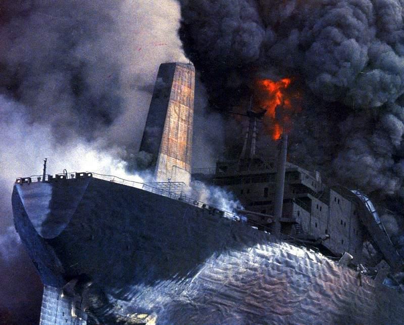 """Otro petrolero de la serie, """"Haven"""", ex """"Amoco Mildford Haven"""", también tuvo trágico final"""