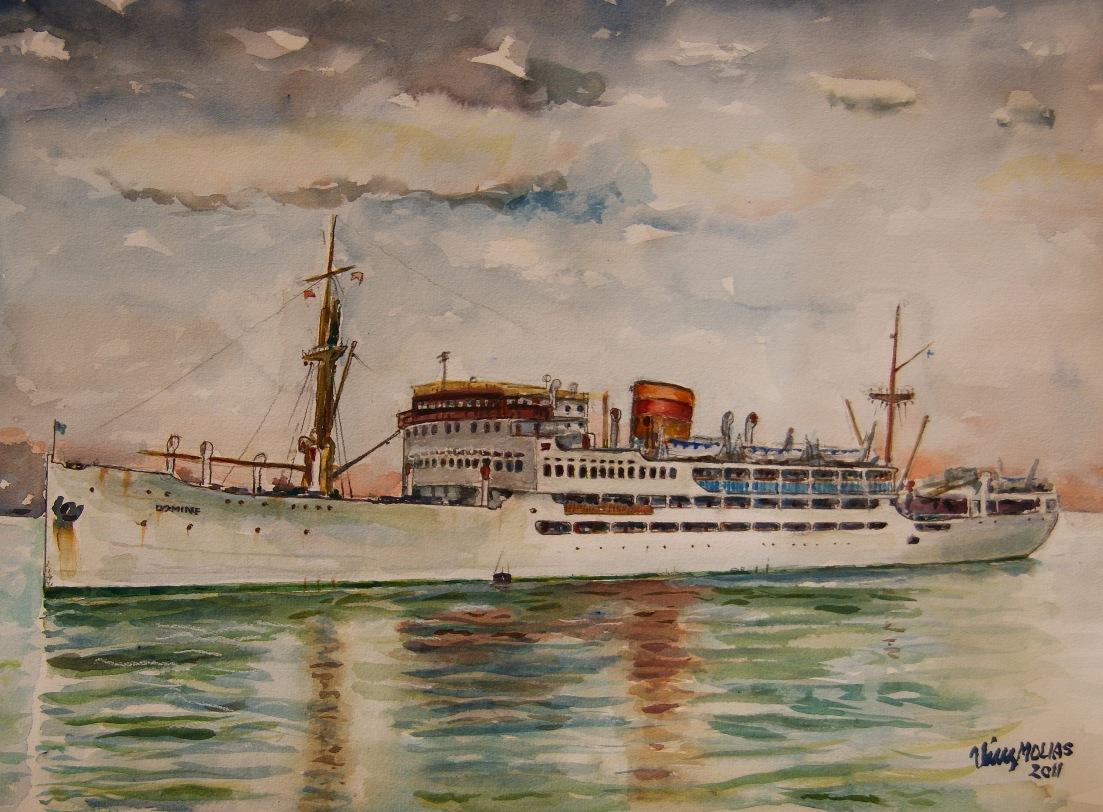 """El buque """"Dómine"""" ha servido de inspiración pictórica como se aprecia en la acuarela de Vicente Pérez Molías"""
