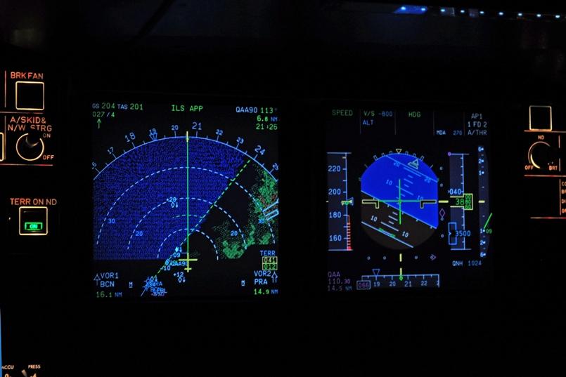 Pantalla digital de radar e indicador de horizonte artificial