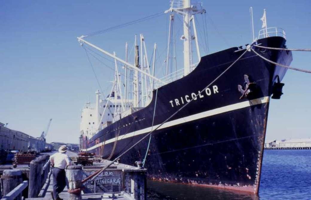 """El buque, en su primera etapa, con el nombre de """"Tricolor"""" y bandera noruega"""