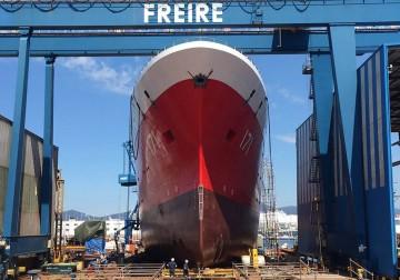 "Vista de proa del ""BAP Carrasco"", botado hoy en el astillero P. Freire"