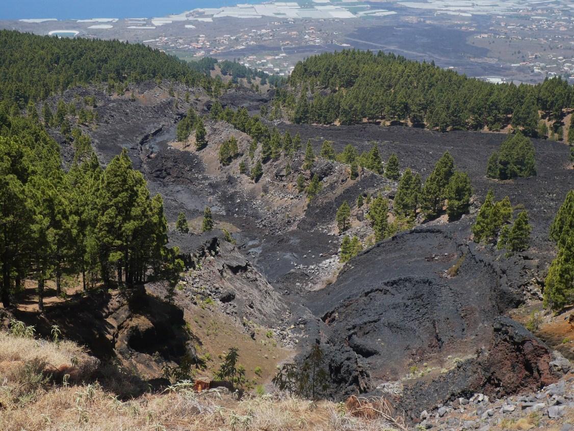 Fisura del Llano del Banco, por la que salió la lava del volcán de San Juan