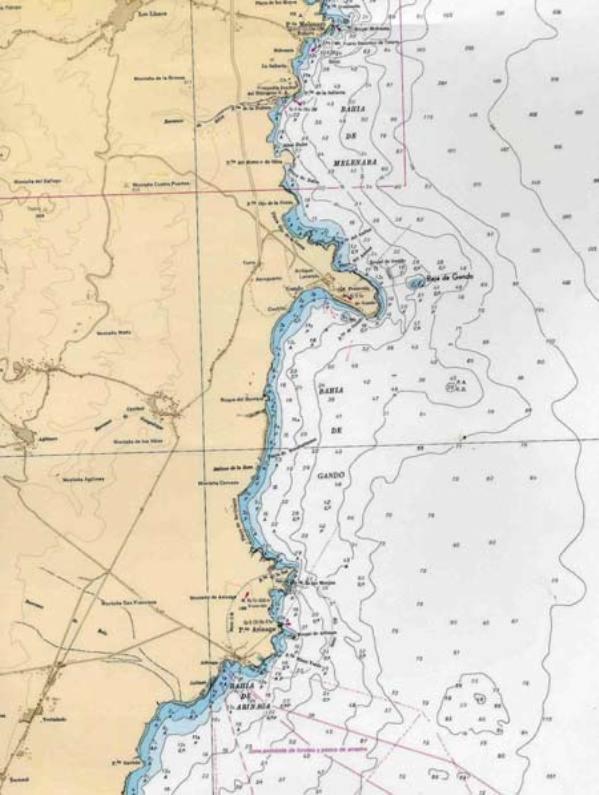 Carta náutica de Gran Canaria, donde se sitúa la bahía y baja de Gando