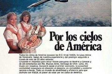Uno de los espacios publicitarios de VIASA, con el DC-10 como protagonista