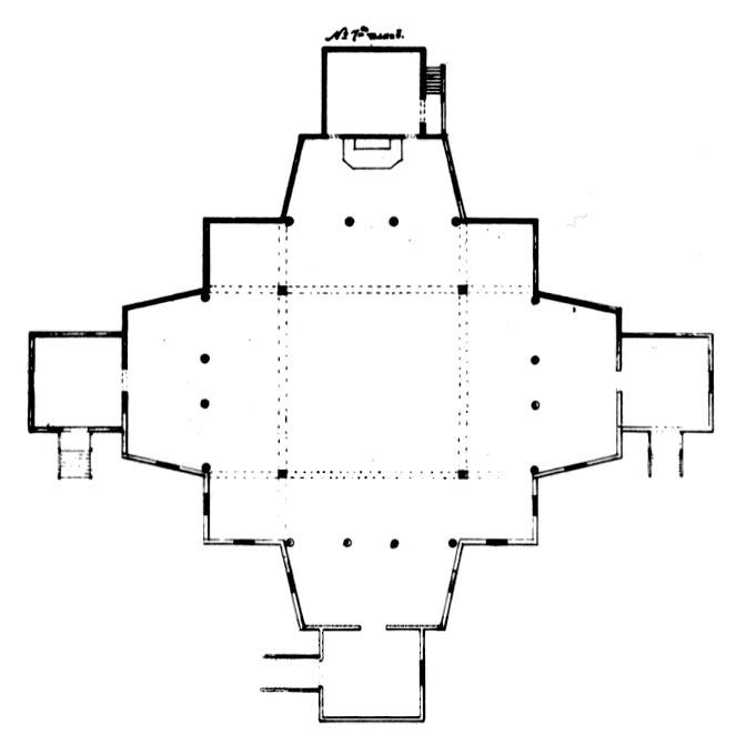 Planta de doble cruz de la iglesia de Santa María de Lappee
