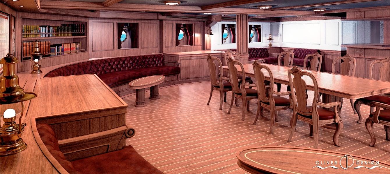 Diseño de la cámara del comandante del buque-escuela para Indonesia