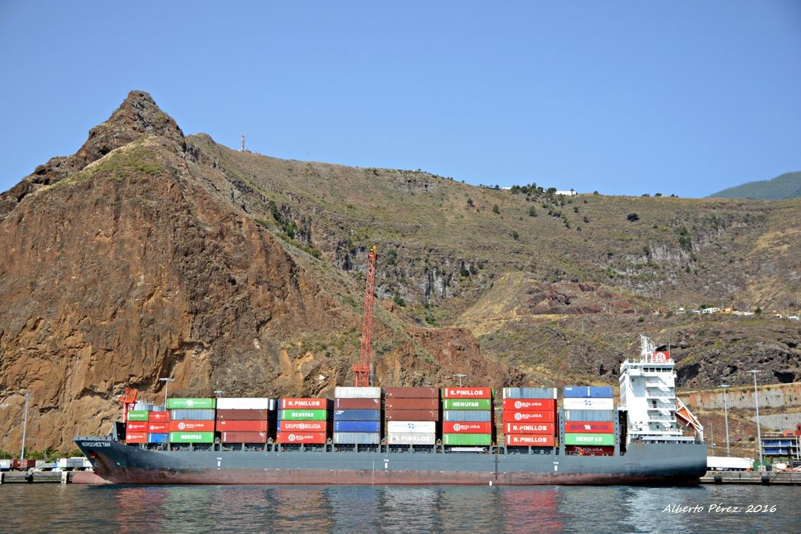 """El buque """"Nordcheetah"""", visto en toda su eslora por la banda de babor"""
