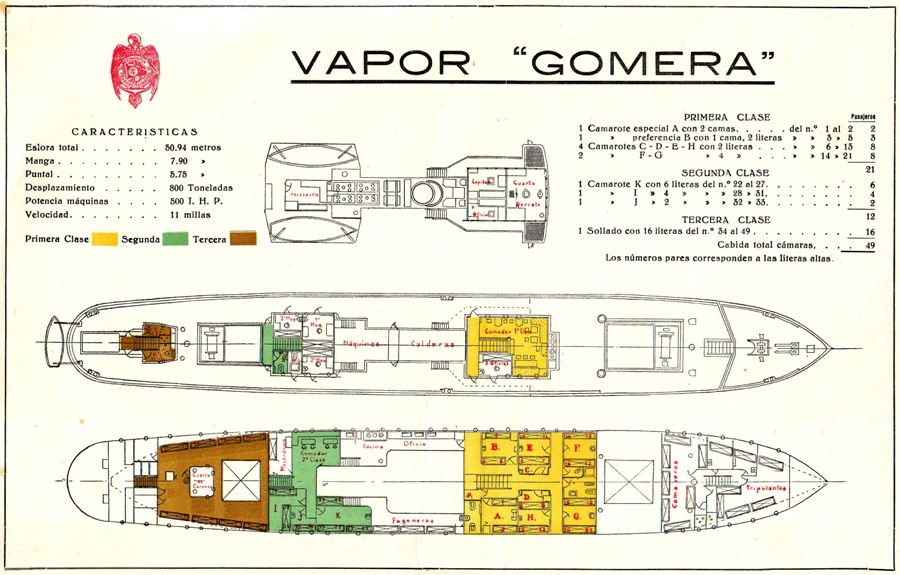"""Plano de acomodación del vapor """"Gomera"""""""