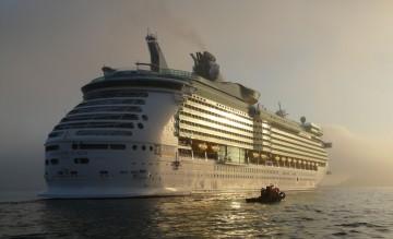 El imponente megacrucero llegó envuelto en la niebla