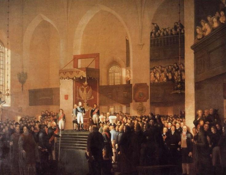 El zar Alejandro I preside la reunión de la Dieta en Porvoo (1809)