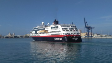 """El buque """"Midnatsol"""", a su llegada esta mañana a Cádiz"""