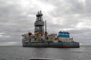 """El buque perforador """"Ensaco DS-3"""", fondeado al resguardo de Anaga"""