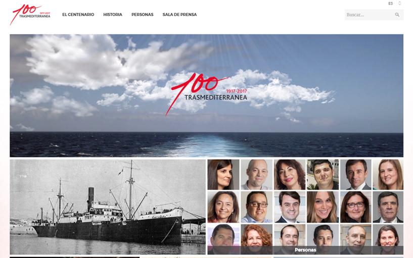 Portal de la nueva web conmemorativa del Centenario de Trasmediterránea