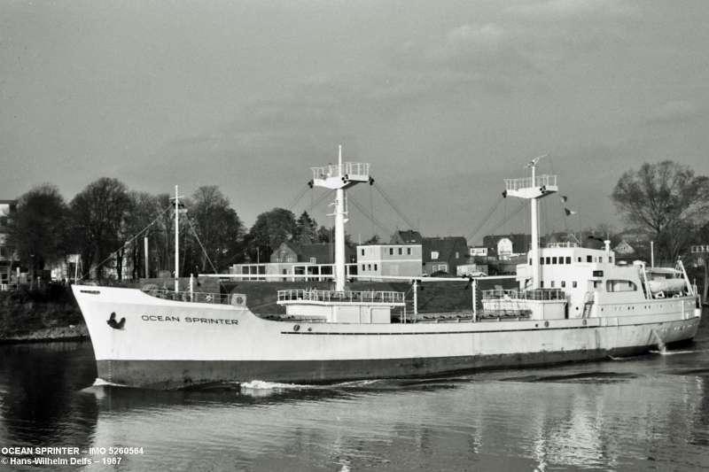 """Estampa marinera del buque frigorífico """"Ocean Sprinter"""""""