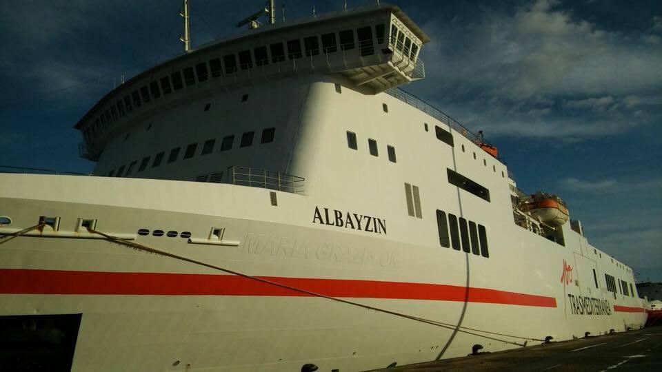 """El buque """"Albayzin"""" luce la imagen corporativa del Centenario de Trasmediterránea"""
