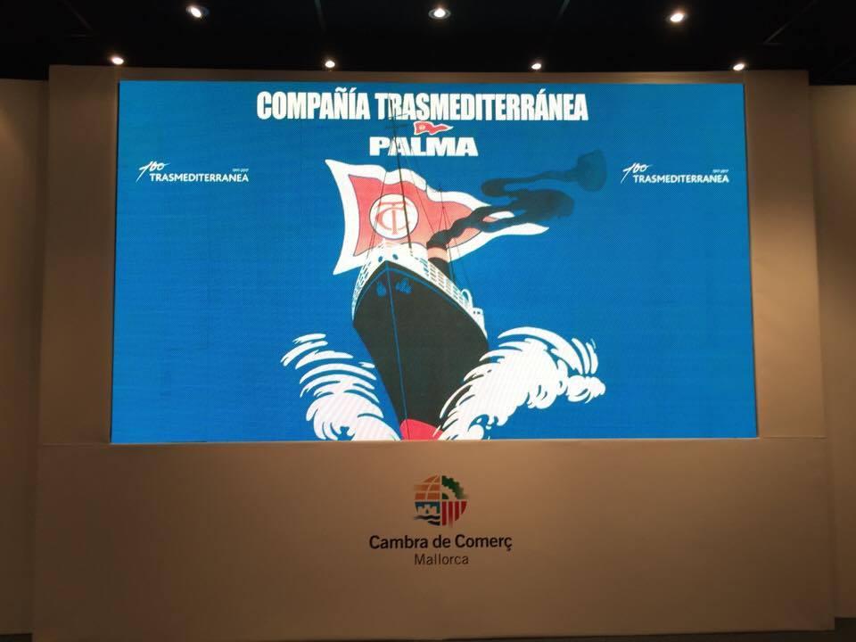 Imagen del centenario de Trasmediterránea que presidió el acto celebrado en Palma