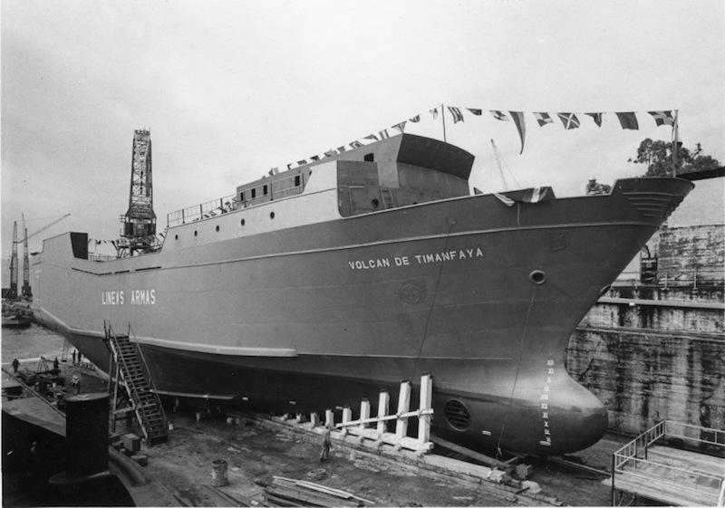 """El buque """"Volcán de Timanfaya"""", preparado para su botadura"""