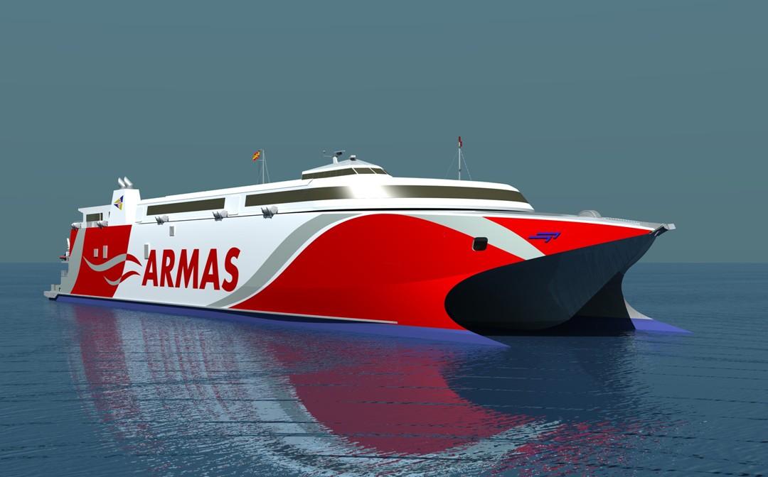 El nuevo catamarán será de 109 m de eslora y 1.200 pasajeros