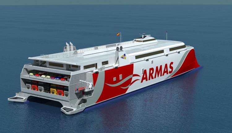 El nuevo catamarán de Naviera Armas llegará en el verano de 2019