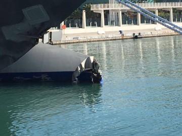 """Así ha quedado el casco de babor del catamarán """"Pinar del Río"""""""