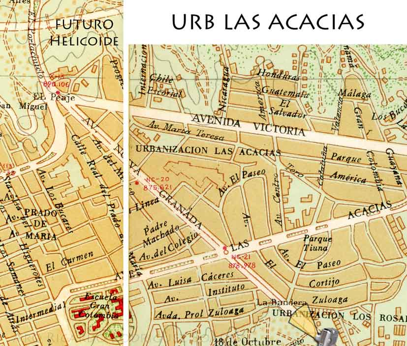 Mapa zonal de Caracas, donde se sitúa el futuro Helicoide (1954)