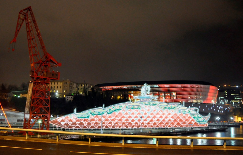 Montaje nocturno del proyecto Bilbao Ría Park