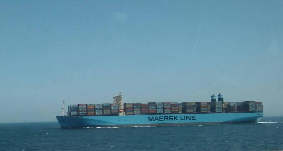 """El buque """"Madrid Maersk"""", aproximándose a la bahía de Algeciras"""