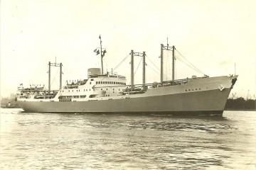 """Estampa marinera de la motonave frutera """"Bruno"""" (1948-1975)"""