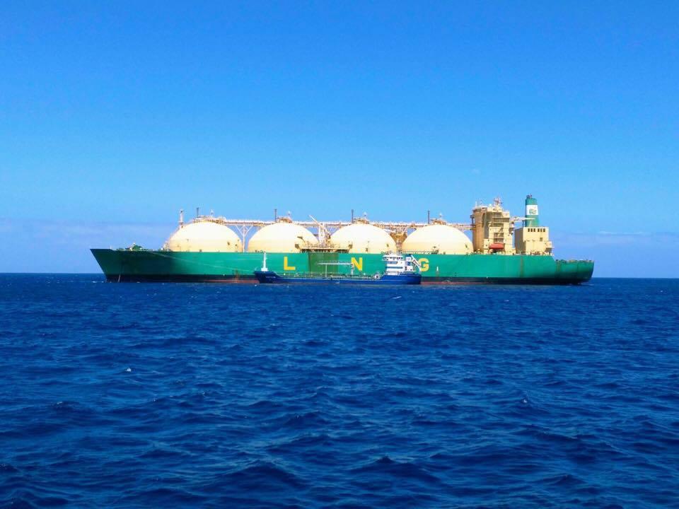 """El buque """"LNG Bayelsa"""", en toda su eslora por la banda de babor"""