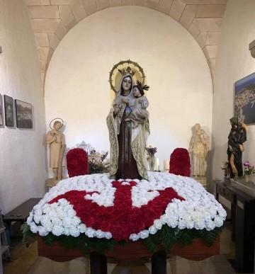 Venerada imagen de la Virgen del Carmen, en Cala Rajada (Mallorca)