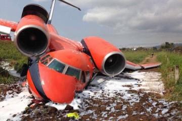 Estado en el que ha quedado el avión Antonov An-74 de Cavok Air