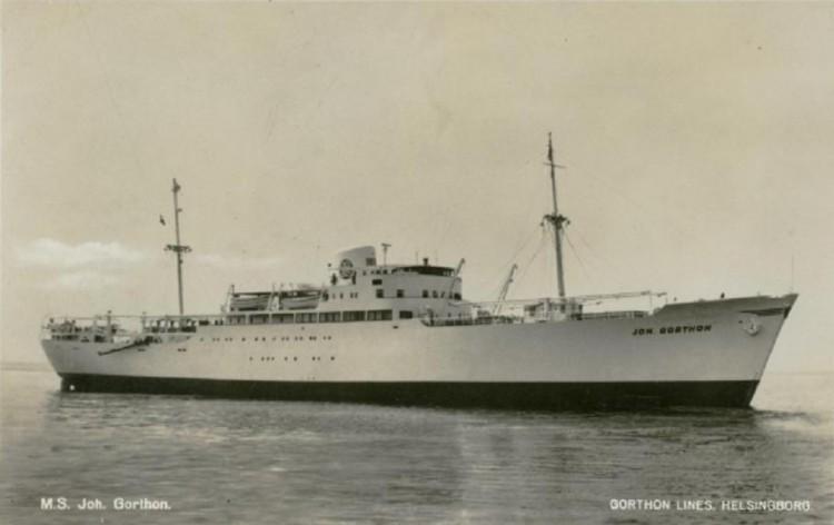 """Estampa marinera del buque """"Joh. Gorthon"""", visto por la amura de estribor"""