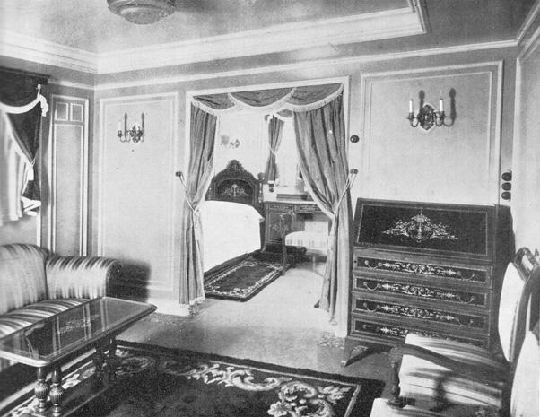 """Salón de la suite de primera clase del buque """"Satrústegui"""""""