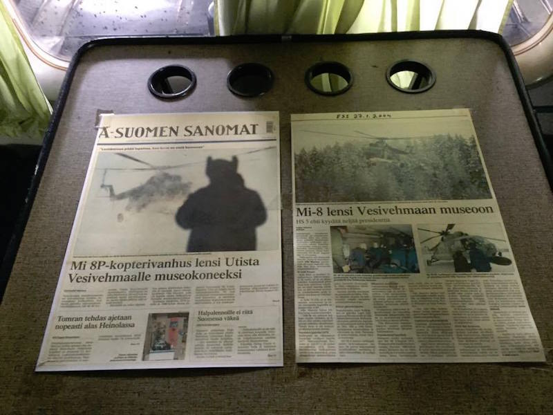 La noticia de la donación del helicóptero al Lahden Ilmasilta, en la prensa finlandesa