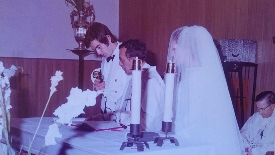 """El """"cardenal"""" Jentile y don Felipe, oficiantes en el día de nuestra boda"""
