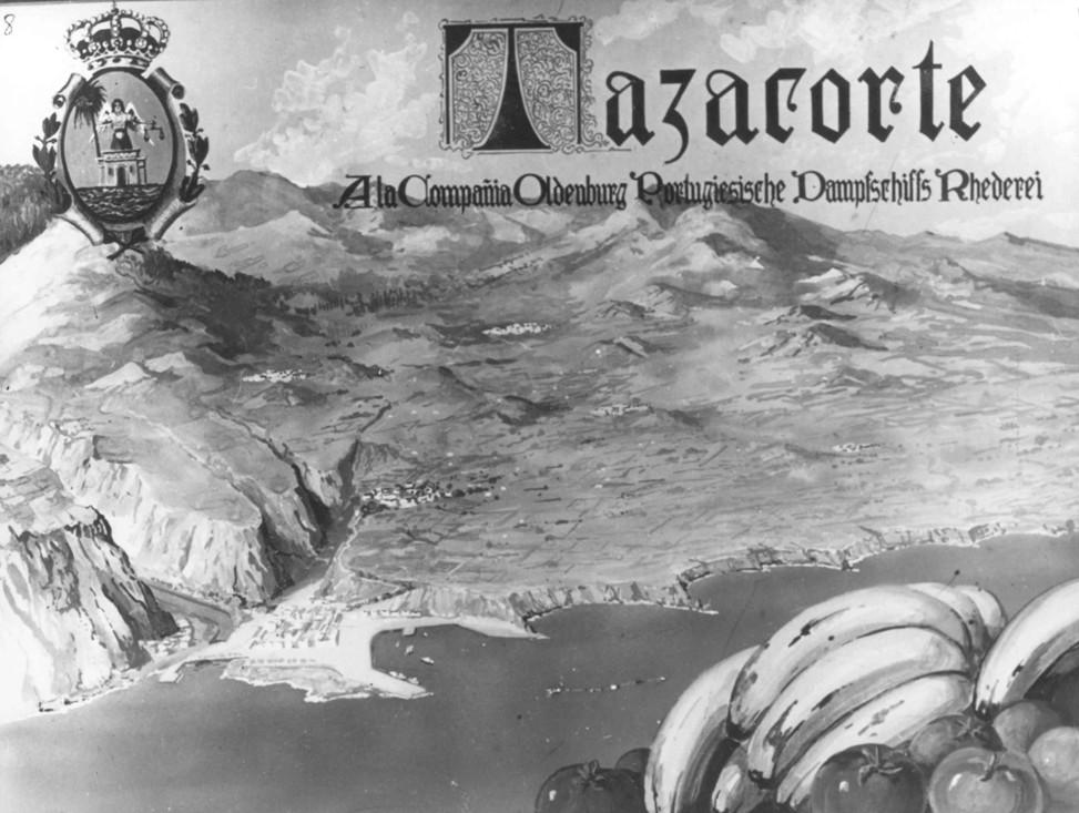 Homenaje de Tazacorte a OPDR (1951). Obsérvese que el ansiado puerto está situado donde se encuentra en la actualidad