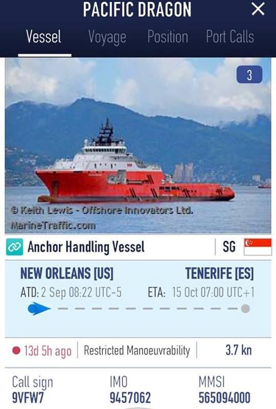 El seguimiento del remolque es posible en marinetraffic