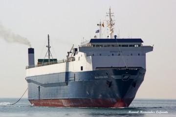 "El rolón ""Maestro Sun"", fletado por Inter Shipping para la línea Algeciras-Tánger Med"