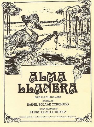 "Portada del libreto de la zarzuela venezolana ""Alma llanera"""