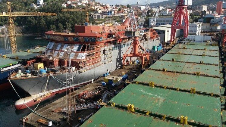 """Estado de construcción del buque """"Villa de Teror"""" (enero 2018)"""