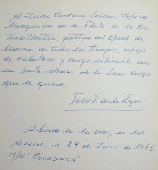 Dedicatoria del almirante Félix Rodríguez de la Reguera