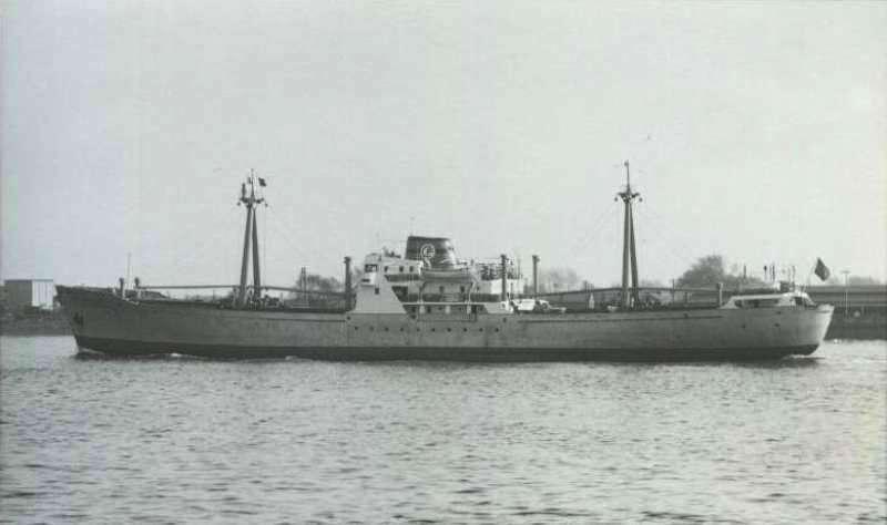 """Estampa marinera del buque """"Torres de Cuarte"""", en aguas del norte de Europa"""