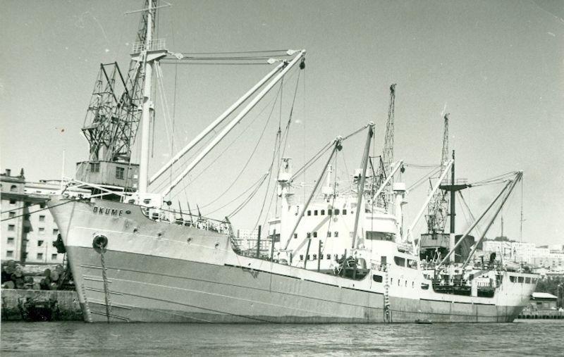 """Estampa marinera del buque maderero """"Okume"""", visto por la banda de babor"""