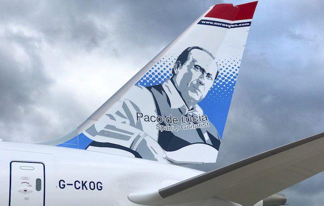 La imagen de Paco de Lucía, en la cola del avión B-787 de Norwegian