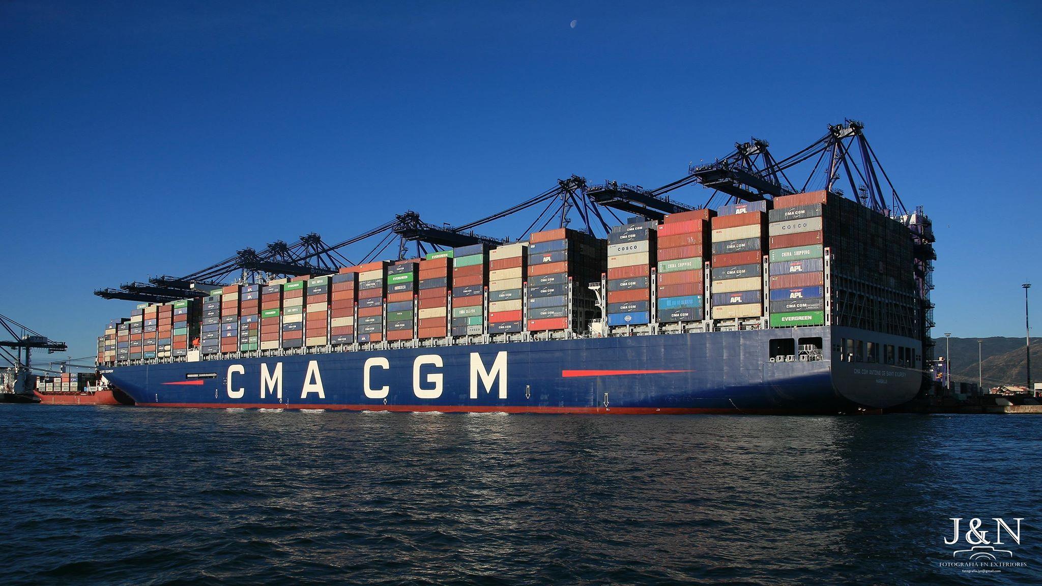 """La presencia del buque """"CMA CGM Antoine de Saint-Exupéry"""" marca un hito en la historia del puerto de Algeciras"""