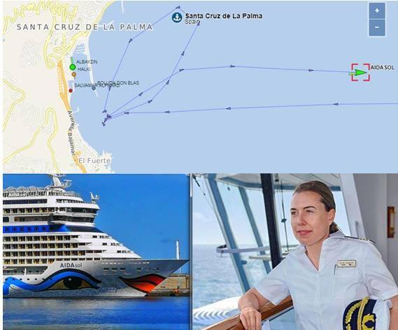 """En la imagen superior, el curso de las maniobras del buque """"AIDAsol"""""""