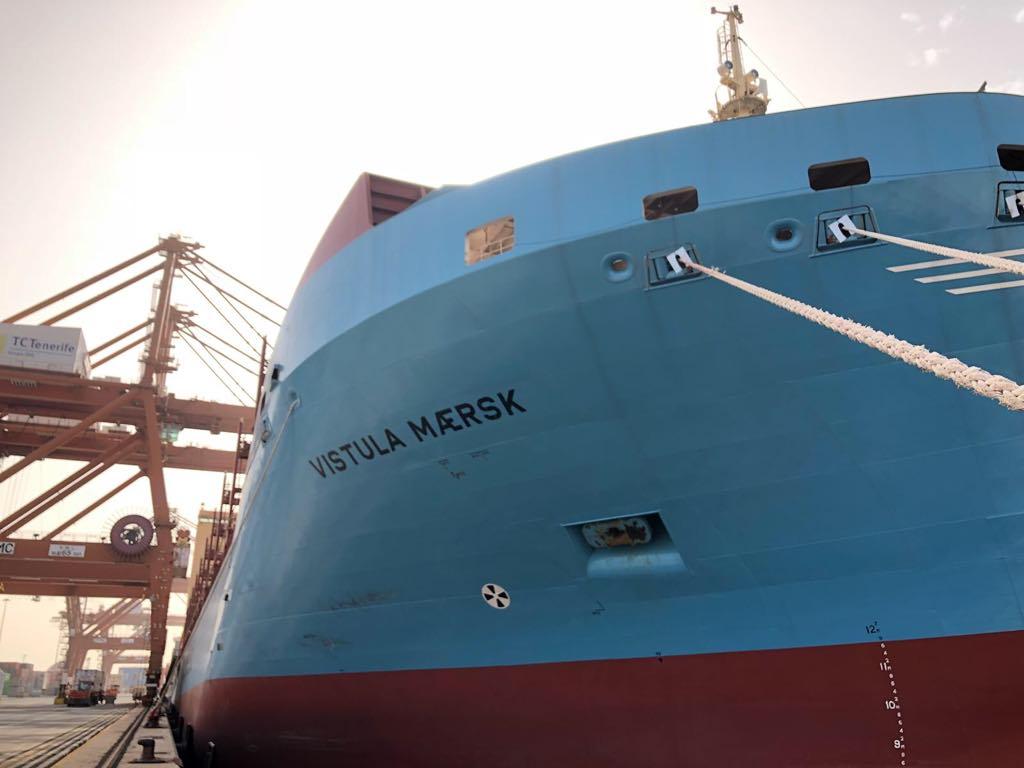 """El buque """"Vístula Maersk"""", visto por la amura de estribor"""